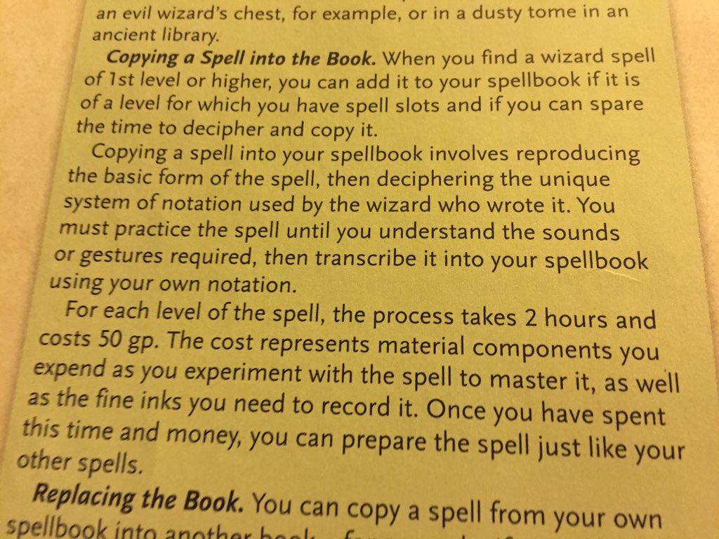 5e] Copying spells from spellbooks?
